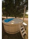 Polypropylene hot tub with spruce trim