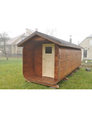 Inclined roof sauna 7 m length