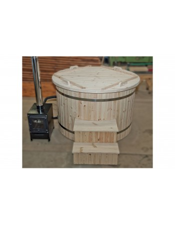 150 cm Plastic hot tub with spruce trim