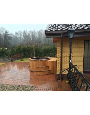 Hot tub black fibreglass 2 m with thermowood trim