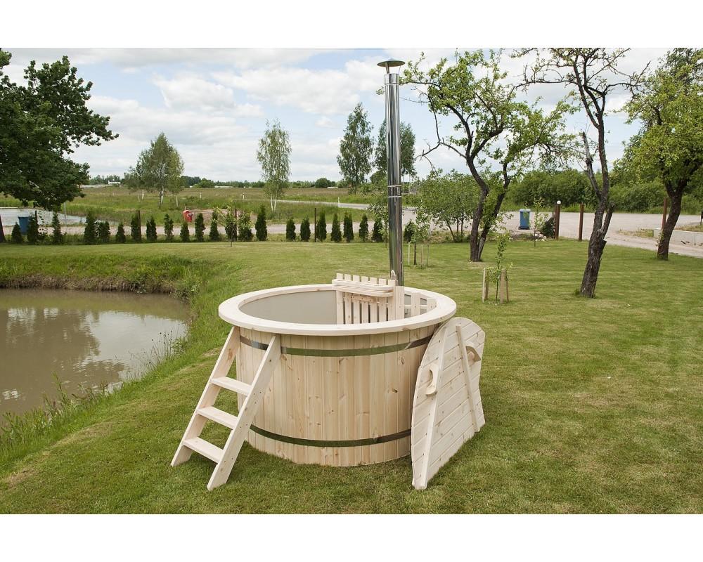 Cheaper! Plastic hot tub with spruce trim 150 cm