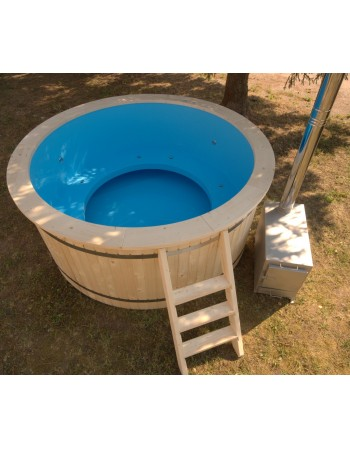220 cm Plastic tub with wood trim