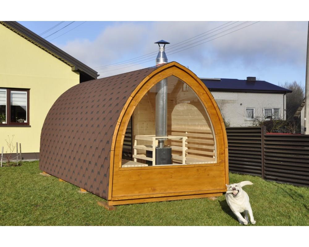 Outdoor sauna with panoramic window