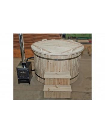 150 cm Plastic hot tub with spruce trim