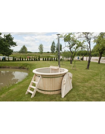 Cheaper! Plastic hot tub with spruce trim 150 cm