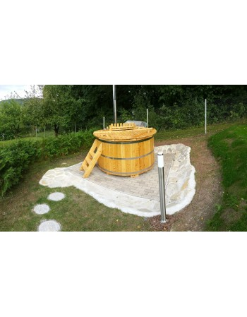 Wooden larch hot tub